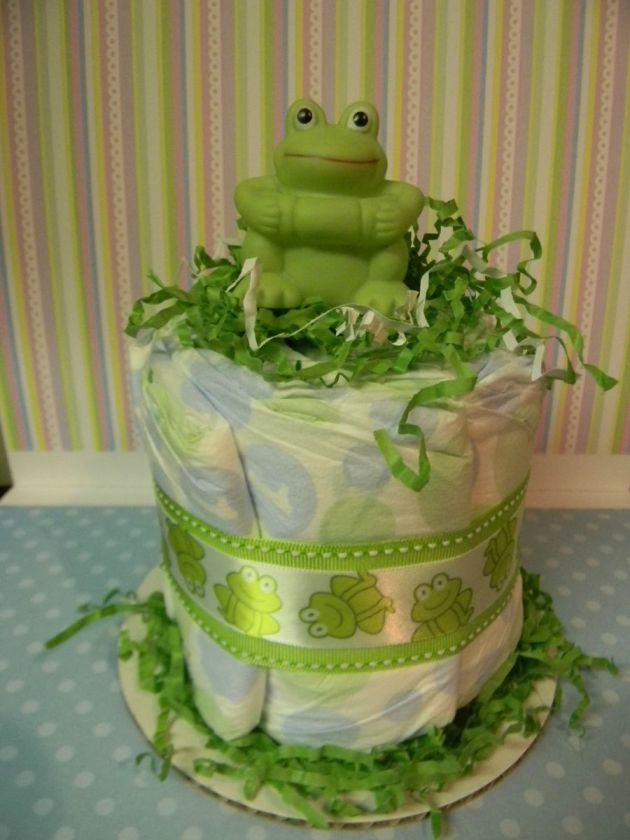 FROG mini diaper cake, baby shower decoration/centerpiece blue or pink